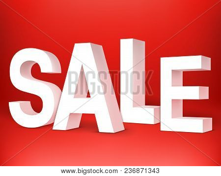 White Sale 3d Letters On Red Background