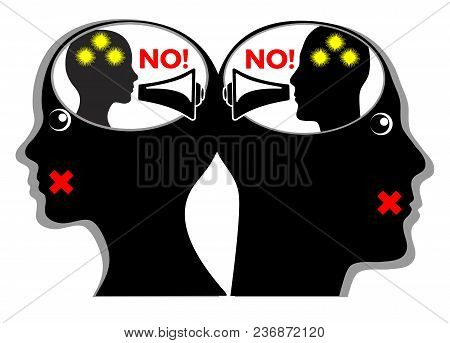 Silent Killer Of Relationship. Angry Couple Quarrels With Their Inner Speech But Do Not Talk With On