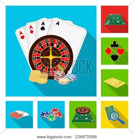 Casino And Equipment Flat Icons In Set Collection For Design. Gambling And Money Vector Symbol Stock