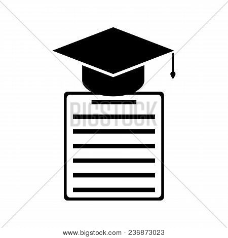 Graduation Cap And Diploma Black Icon. Education Concept.isolated On White Background.vector