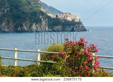 Beautiful Summer Manarola View From Corniglia Village. This Is A Famous Villages Of Cinque Terre Nat