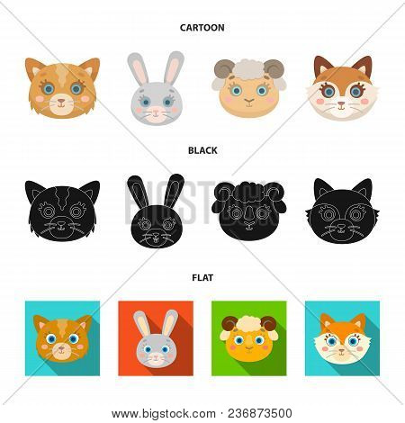 Cat, Rabbit, Fox, Sheep. Animal Muzzle Set Collection Icons In Cartoon, Black, Flat Style Vector Sym