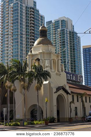 San Diego, Usa - May14,2014: Famous Station In San Diego,ca,america.the Spanish Colonial Revival Sty