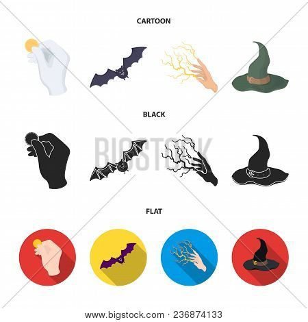 Focus With A Coin, A Bat, A Mage Hat, A Lightning-fast Spell.black And White Magic Set Collection Ic