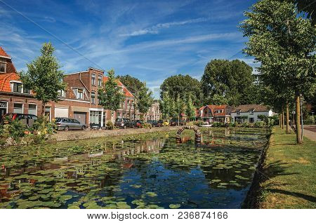 Tree-lined Canal With Aquatic Plants, Streets On The Banks And Brick Houses On A Sunny Day In Weesp.