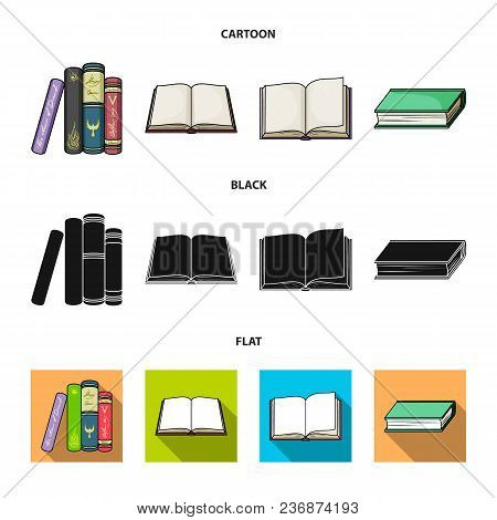 Various Kinds Of Books. Books Set Collection Icons In Cartoon, Black, Flat Style Vector Symbol Stock