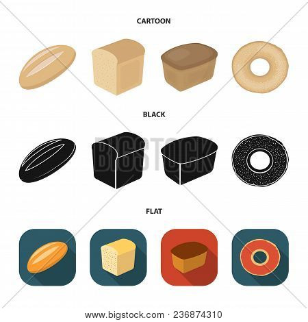 Loaf Cut, Bagel, Rectangular Dark, Half A Loaf.bread Set Collection Icons In Cartoon, Black, Flat St