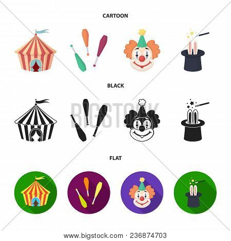 Circus Tent, Juggler Maces, Clown, Magician Hat.circus Set Collection Icons In Cartoon, Black, Flat