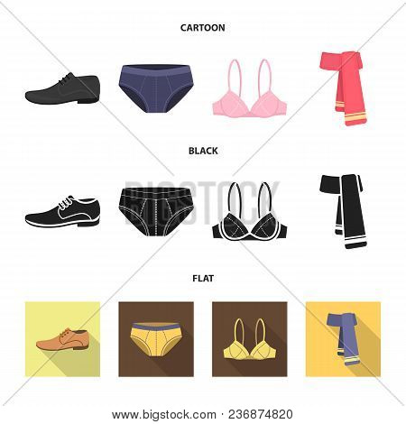 Male Shoes, Bra, Panties, Scarf, Leather. Clothing Set Collection Icons In Cartoon, Black, Flat Styl