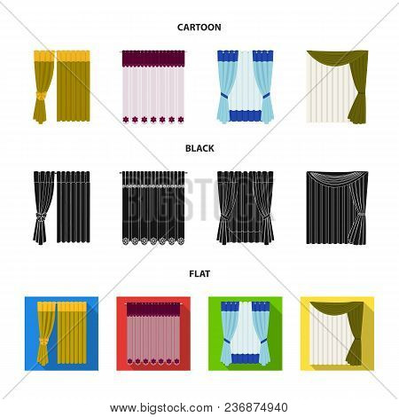 Curtains, Drapes, Garters, And Other  Icon In Cartoon, Black, Flat Style. Textiles, Furniture Bow Ic