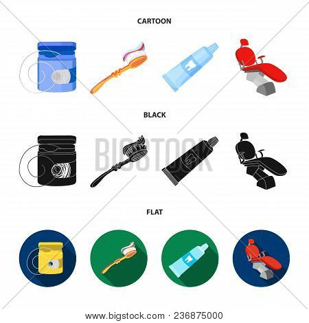 Dental Floss, Toothbrush, Toothpaste, Dental Chair. Dental Care Set Collection Icons In Cartoon, Bla