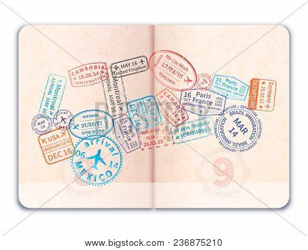 Realistic Open Foreign Passport With Many Bright Colorful Immigration Stamps In Car Shape Isolated O