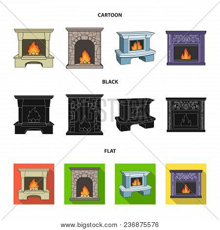Fire, Warmth And Comfort.fireplace Set Collection Icons In Cartoon, Black, Flat Style Vector Symbol