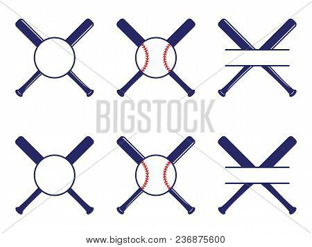 Vector Set With Baseball Logos, Split And Circle Monograms. Baseball Crossed Bats. Criss Cross Bats.