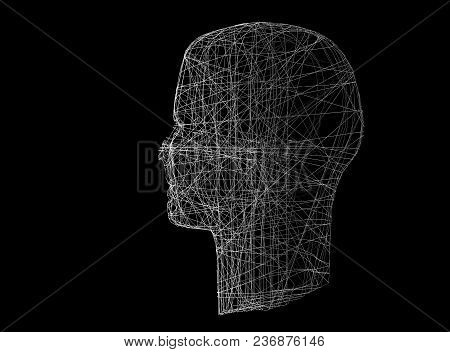 Human Head. Wireframe Model With Connection Lines On Black, 3d Illustration