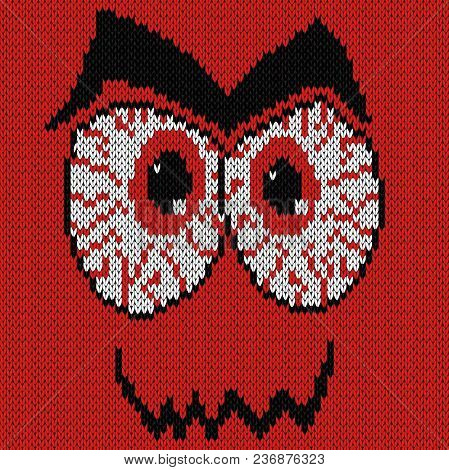 Angry Expression Grimace With Bloodshot Eyes, Knitting Vector Pattern As A Fabric Texture