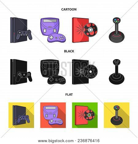 Game Console, Joystick And Disc Cartoon, Black, Flat Icons In Set Collection For Design.game Gadgets
