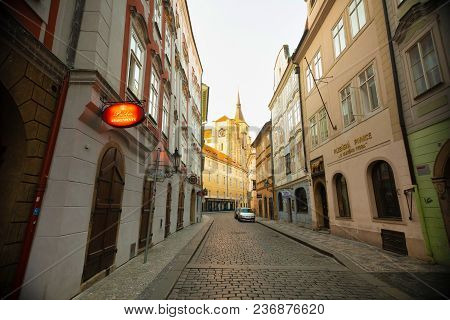 Prague, Czech Republic - 09.04.2018: Old Narrow Street In Old Town Of Prague In Early Morning, Czech