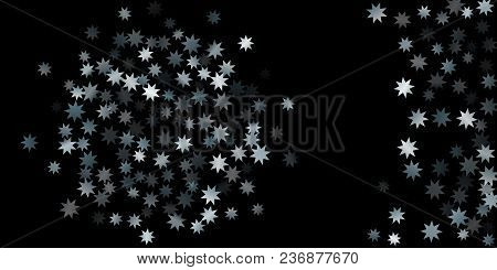 Abstract Silver Star Of Confetti. Falling Starry Background. Random Stars Shine On A Black Backgroun
