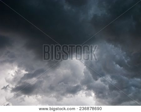 Terrible, Storm Clouds. The Sky Is Covered With Black, Menacing Clouds. They Announce The Coming Sto