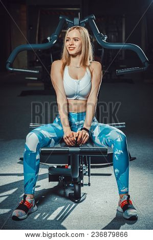 Sexy European Athletic Fitness Girl Working Out In Gym. Fitness Woman Sits On Equipment Or Lean On T