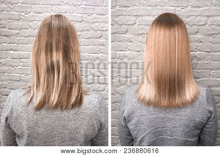 Sick, Cut And Healthy Hair. Before And After Treatment.