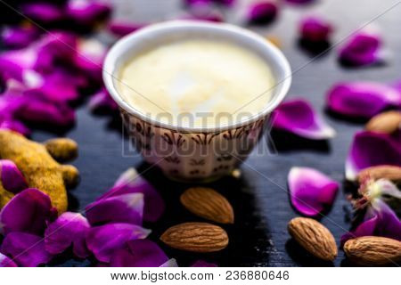 Badam, Haldi & Milk Ubtan Or Ayurvedic Face Mask's Ingredients With Ready Face Pack Of Almond With T