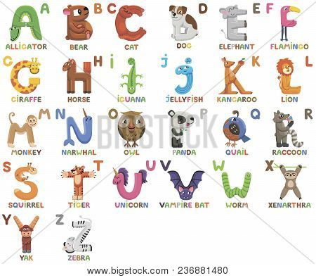 Zoo Alphabet. Animal Alphabet. Letters From A To Z. Cartoon Cute Animals Isolated On White Backgroun