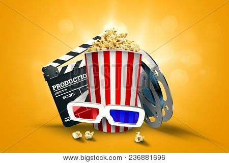 Online Movies, Cinemas, An Image Of Popcorn, 3D Glasses, A Movie Film And A Blackboard On A Yellow B