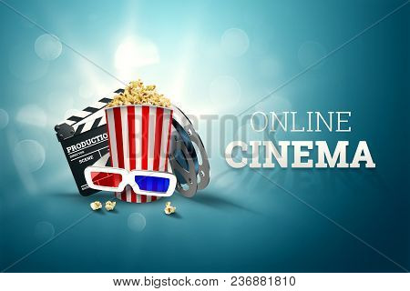 Online Movies, Cinemas, An Image Of Popcorn, 3D Glasses, A Movie Film And A Blackboard On A Blue Bac