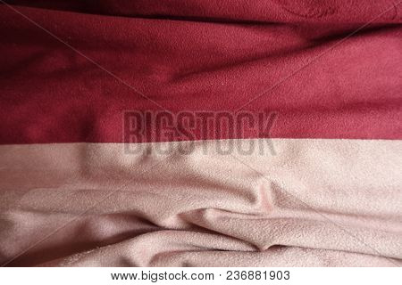 Draped Artificial Suede Fabric In Pink And Red