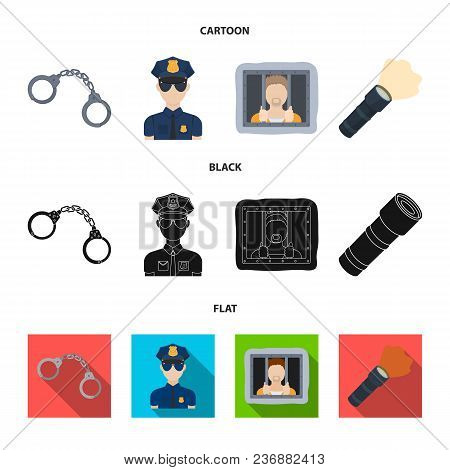 Handcuffs, Policeman, Prisoner, Flashlight.police Set Collection Icons In Cartoon, Black, Flat Style