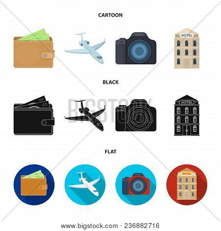 Vacation, Travel, Wallet, Money .rest And Travel Set Collection Icons In Cartoon, Black, Flat Style