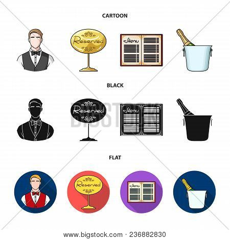Waiter, Reserve Sign, Menu, Champagne In An Ice Bucket.restaurant Set Collection Icons In Cartoon, B