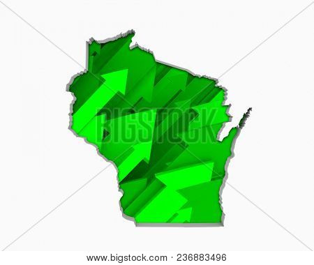 Wisconsin WI Arrows Map Growth Increase On Rise 3d Illustration
