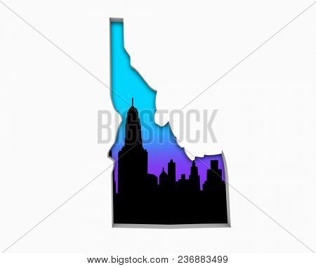 Idaho ID Skyline City Metropolitan Area Nightlife 3d Illustration
