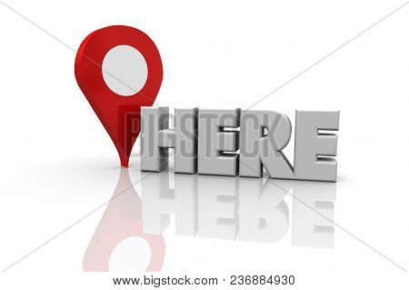 Here Map Pin Location Navigation Word 3d Illustration