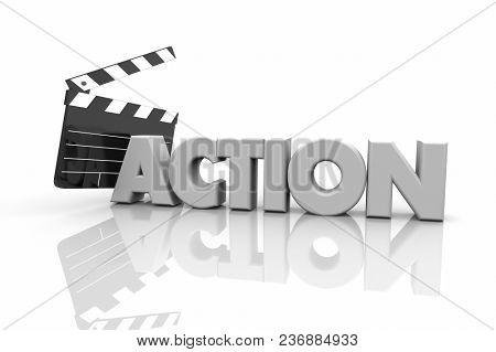 Action Movie Clapper Board Take One Filming Movie Scene 3d Illustration