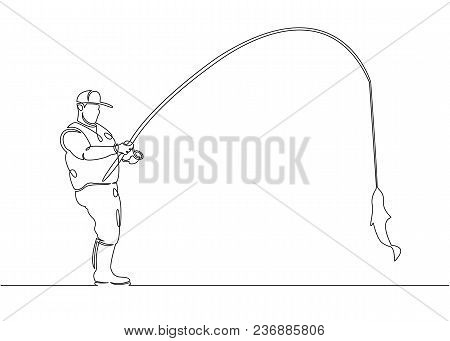 Continuous Single Drawn One Line Fisherman In A Boat And Pier On A Fishing Trip