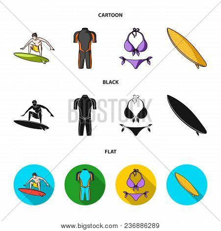 Surfer, Wetsuit, Bikini, Surfboard. Surfing Set Collection Icons In Cartoon, Black, Flat Style Vecto