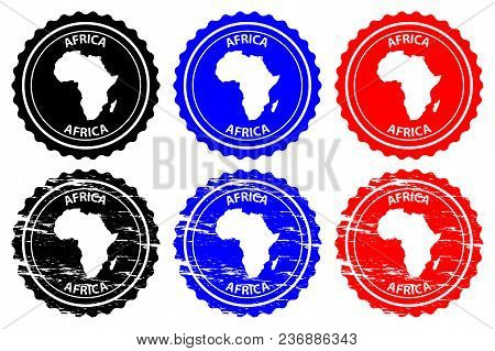 Africa - Rubber Stamp - Vector, Africa Continent Map Pattern - Sticker - Black, Blue And Red