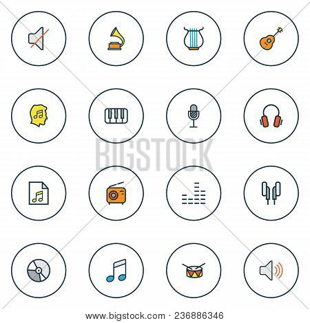 Audio Icons Colored Line Set With Vinyl, Equalizer, Fanatic And Other Sound Elements. Isolated Vecto
