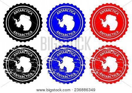 Antarctica - Rubber Stamp - Vector, Antarctica Continent Map Pattern - Sticker - Black, Blue And Red