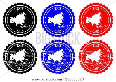 Asia - Rubber Stamp - Vector, Asia Continent Map Pattern - Sticker - Black, Blue And Red