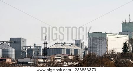 Elevator For Grain Storage. Grain Warehouse. Agricultural Complex.