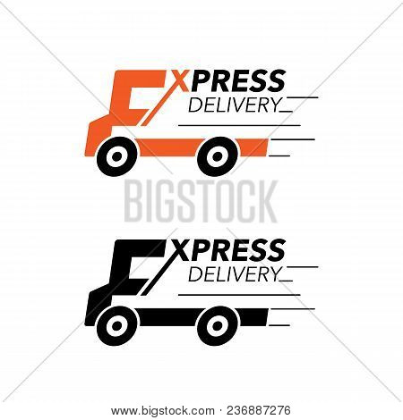 Express Delivery Icon Concept. Truck Service, Order, Worldwide, Fast And Free Shipping. Modern Desig
