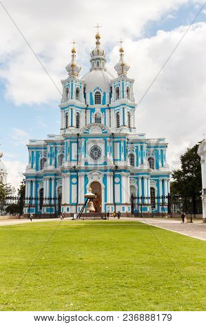 Christmas Resurrection Cathedral Of The Smolny Convent In St. Petersburg, Russia