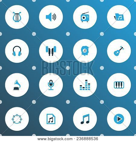 Multimedia Icons Colored Set With Octave, Earmuff, Start And Other Playlist Elements. Isolated  Illu