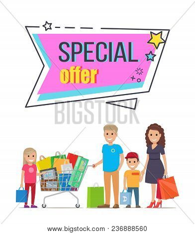 Special Offer For Big Family Shopping Promotion. Parents And Children With Paper Bags And Trolley Fu