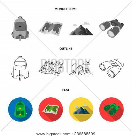 Ax, First-aid Kit, Tourist Tent, Folding Knife. Camping Set Collection Icons In Flat, Outline, Monoc